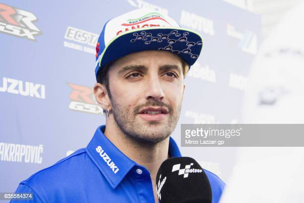 Andrea Iannone of Italy and Team Suzuki ECSTAR speaks with journalists during 2017 MotoGP preseason testing at Phillip Island Grand Prix Circuit on...