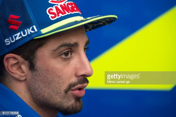 Andrea Iannone of Italy and Team Suzuki ECSTAR speaks with journalists during the MotoGP test in Sepang at Sepang Circuit on January 30 2018 in Kuala...