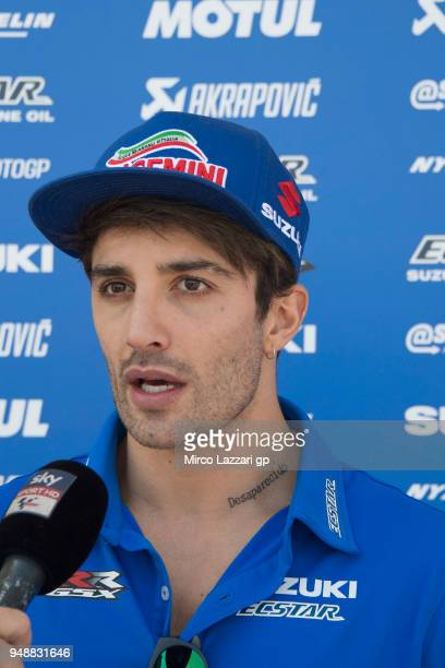 Andrea Iannone of Italy and Team Suzuki ECSTAR speaks with journalists in paddock during the MotoGp Red Bull US Grand Prix of The Americas Previews...
