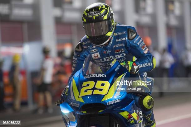 Andrea Iannone of Italy and Team Suzuki ECSTAR starts from box during the MotoGP of Qatar Qualifying at Losail Circuit on March 17 2018 in Doha Qatar