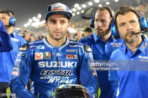 Andrea Iannone who rides Suzuki for Team Suzuki Ecstar waiting on the start grid during the Grand Prix of Qatar at the Losail International Circuit...