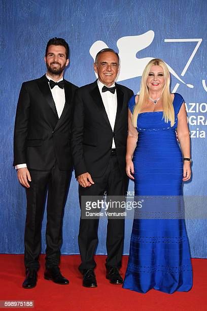 Andrea Iervolino Alberto Barbera and producer Lady Monika Bacardi attends the premiere of 'In Dubious Battle' during the 73rd Venice Film Festival at...