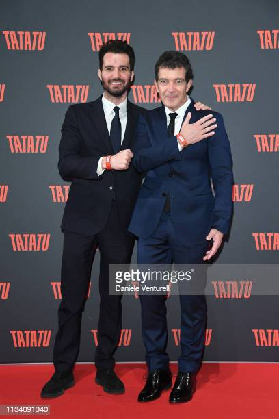 Andrea Iervolino and Antonio Banderas attend 'TATATU' Cocktail Party on March 06 2019 in Rome Italy