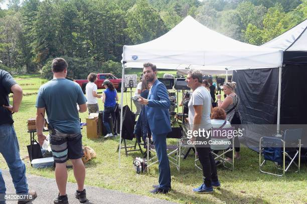 Andrea Iervolino and Silvio Muraglia is on the set of the movie Trading Paint on September 1 2017