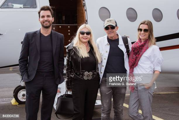 Andrea Iervolino Monika Bacardi Antonio Banderas and Nicole Kimpel arrive at the Deauville airport to present the movie 'The Music of Silence' during...
