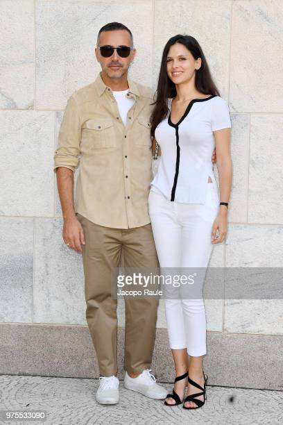 Andrea Incontri and Nathalie Dompe arrive at the Alberta Ferretti show during Milan Men's Fashion Week Spring/Summer 2019 on June 15 2018 in Milan...
