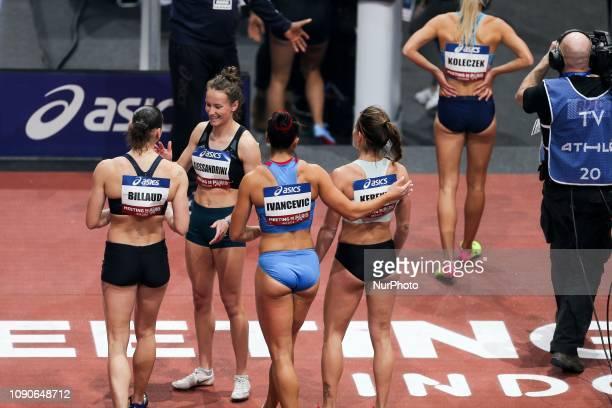 Andrea Ivancevic Greta Kerekes Karolina Koleczek Sacha Alessandrini Cindy Billaud congratule each other after having competed in 60m Hurdles during...