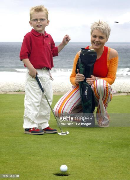 Andrea Jennings with her son Callum at Bushfoot golf course in Co Antrim Golf star Darren Clarke whose nephew once survived a major heart scare...
