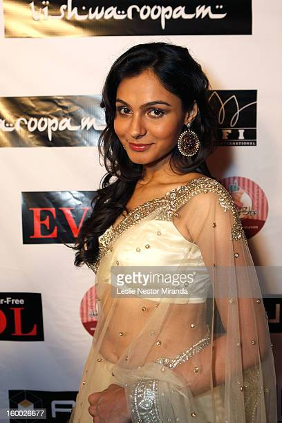 Andrea Jeremiah attends the World Premiere of 'Vishwaroopam' at Pacific Theaters at the Grove on January 24 2013 in Los Angeles California