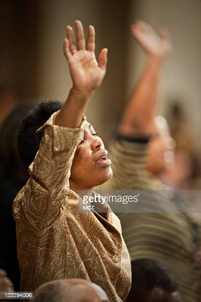Andrea Johnson, of Charleston, South Carolina, sings during the National Prayer Service at the Basilica of the National Shrine of the Immaculate...