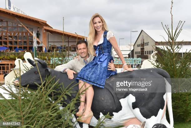 Andrea Kaiser and her husband Sebastian Ogier during the ProSieben Sat1 Wiesn as part of the Oktoberfest 2017 at Kaefer Tent on September 17, 2017 in...