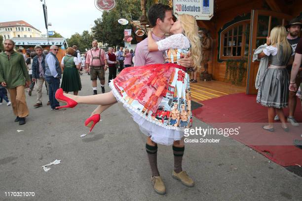 """Andrea Kaiser and her husband Sebastien Ogier during the """"Laureus Wiesn"""" as part of the Oktoberfest 2019 at Theresienwiese on September 22, 2019 in..."""