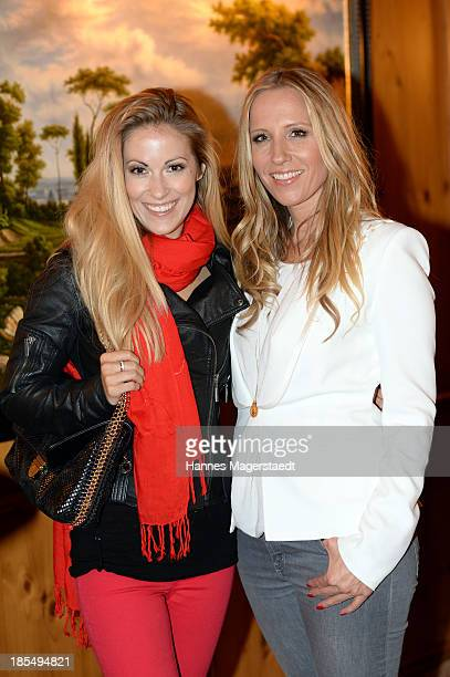 Andrea Kaiser and Katja Wunderlich attends the presentation of Manfred Baumann New Calendar 2014 at the King's Hotel Center on October 21 2013 in...