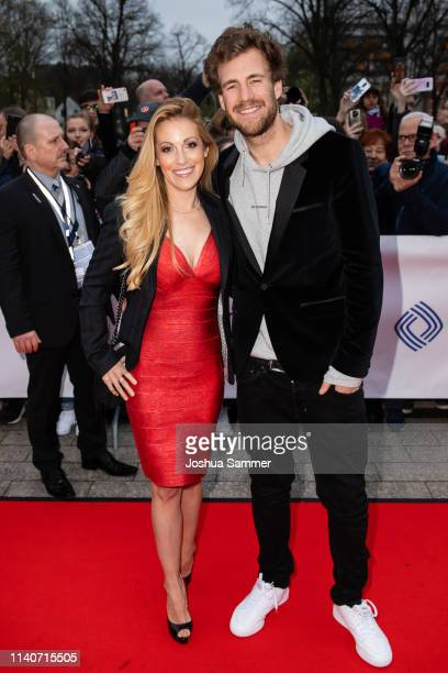 Andrea Kaiser and Luke Mockridge attend the annual Grimme Award on April 05, 2019 in Marl, Germany.