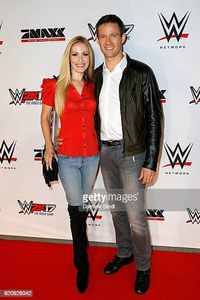 Andrea Kaiser and Sebastien Ogier attend Tim Wiese's first WWE fight at Olympiahalle on November 3 2016 in Munich Germany