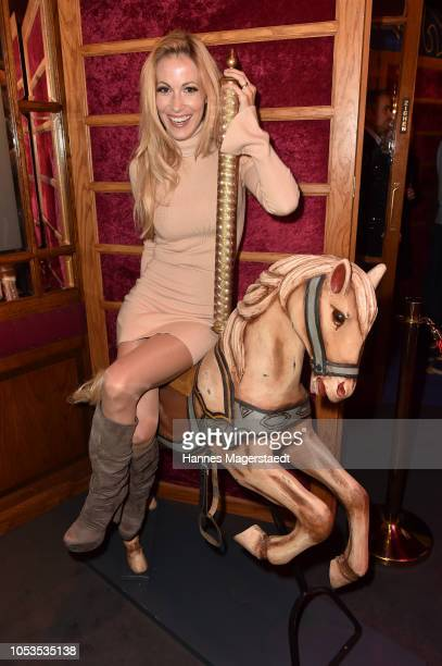 Andrea Kaiser poses during the VIP premiere of Schuhbecks Teatro at Spiegelzelt on October 25 2018 in Munich Germany