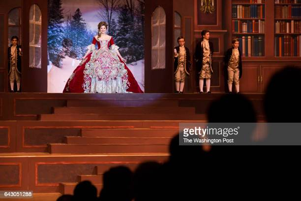 Andrea Katia Gutierrez enters the stage at the Society of Martha Washington's Colonial Pageant in Laredo, TX, United States on February 17, 2017.