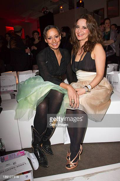 Andrea Kempter and Gitta Saxx attend the party during the 'Lange Nacht Der Mode' fashionshow at Filmcasino on February 16, 2012 in Munich, Germany.