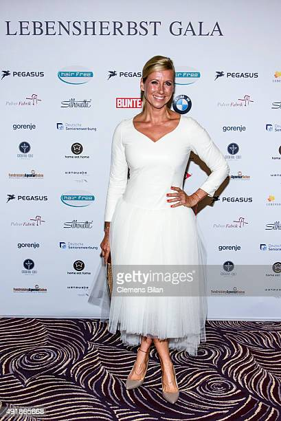 Andrea Kiewel attends the Lebensherbst charity gala at Waldorf Astoria on October 8 2015 in Berlin Germany