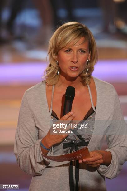 Andrea Kiewel moderates during rehearsals for the ZDF Hitparty on September 25 2007 at Cologne Germany