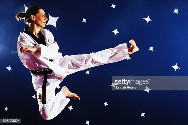 Andrea Kilday of the New Zealand Taekwondo team poses for a portrait after been named in the New Zealand Olympic Taekwondo team on March 18 2016 in...