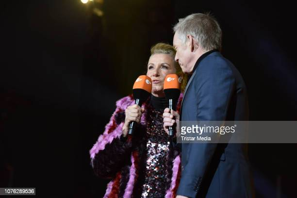 Andrea Kiwi Kiewel and Johannes B Kerner during the ZDF TV Show 'Willkommen 2019' New Years Eve Party at Brandenburg Gate on December 31 2018 in...