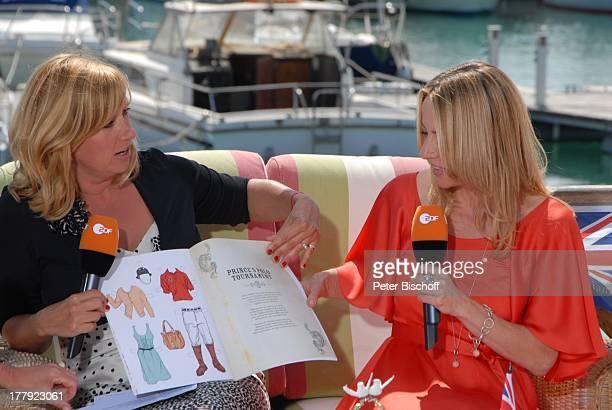 "Andrea ""Kiwi"" Kiewel , Patricia Schäfer , , ZDF-Show ""Die Frühlingsshow"" , Yachthafen Marina Rubic—n, Terrasse ""Lanis Grill"", Playa Blanca, Insel..."