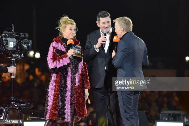 Andrea Kiwi Kiewel UK singer Tony Hadley of the band Spandau Ballet and Johannes B Kerner during the ZDF TV Show 'Willkommen 2019' New Years Eve...
