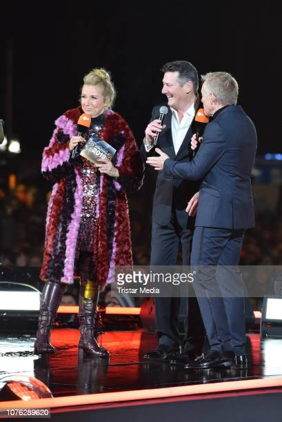 Andrea Kiwi Kiewel, UK singer Tony Hadley of the band Spandau Ballet and Johannes B. Kerner during the ZDF TV Show 'Willkommen 2019' - New Years Eve...