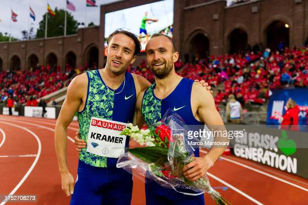 Andrea Kramer of Sweden and Amel Tuka of Bosnia Erzegovina poses after men's 800m during Stockholm 2019 Diamond League at Stockholms Olympiastadion...