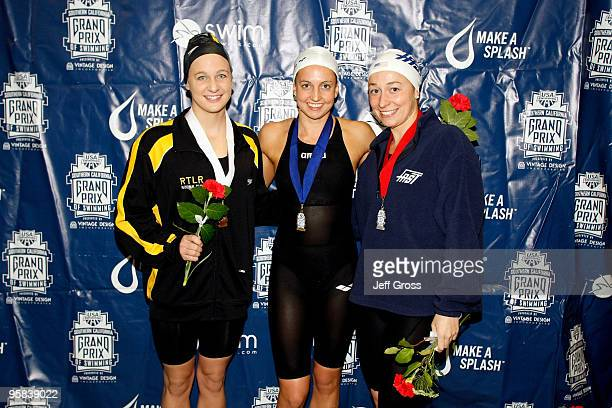Andrea Kropp Rebecca Soni and Ariana Kukors pose after swimming in the Women's 200 Breaststroke Final during the Long Beach Grand Prix on January 17...