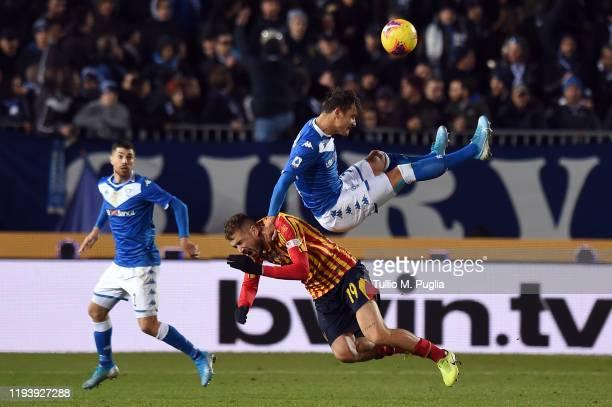 Andrea La Mantia of Lecce and Ales Mateju of Brescia compete for the ball during the Serie A match between Brescia Calcio and US Lecce at Stadio...