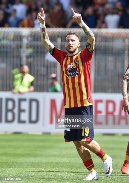 Andrea La Mantia of US Lecce celebrates after scoring goal 2-0 the Serie B match between US Lecce and AC Spezia at Stadio Via del Mare on May 11,...