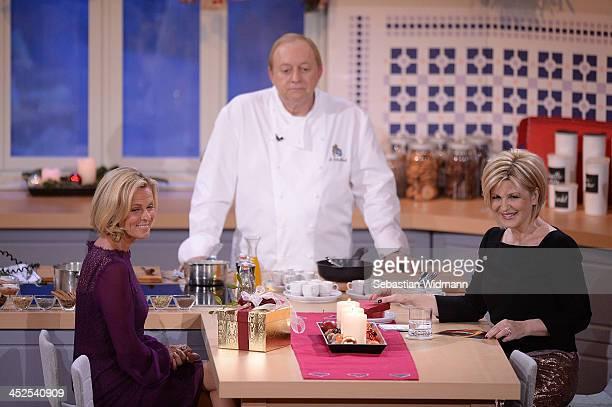 Andrea L'Arronge Alfons Schuhbeck and Carmen Nebel attend the 'Heiligabend mit Carmen Nebel' show taping at the Bavaria Studios on November 29 2013...