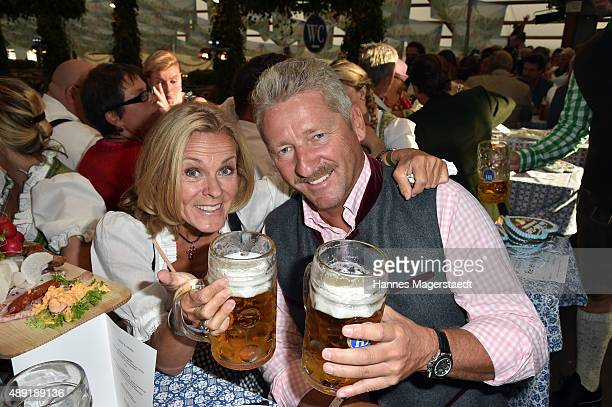 Andrea L'Arronge and Charly Reichenwallner sighted at the Hofbraeu beer tent during the Oktoberfest 2015 Opening at Theresienwiese on September 19...