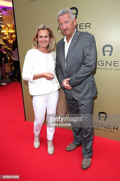 Andrea L'Arronge and her husband Charlie Reichenwallner during the 50th Anniversary of AIGNER on April 16 2015 in Munich Germany