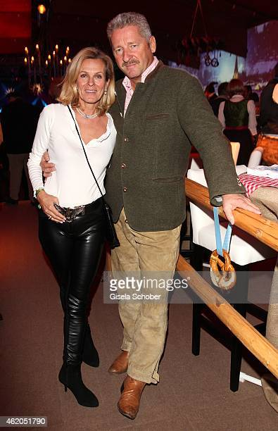 Andrea L'Arronge and her husband Charly Reichenwallner during the Weisswurstparty at Hotel Stanglwirt on January 23 2015 in Going Austria