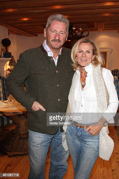 Andrea L'Arronge and her husband Charly Reichenwallner during the NeujahrsKarpfenessen in Hotel zur Tenne on January 06 2015 in Kitzbuehel Austria