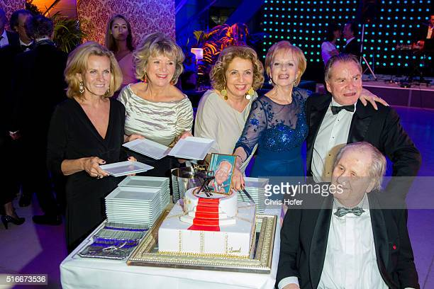 Andrea L'Arronge Jutta Speidel Michaela May Angelika Spiehs Fritz Wepper and Karl Spiehs attend Karl Spiehs 85th birthday celebration on March 19...