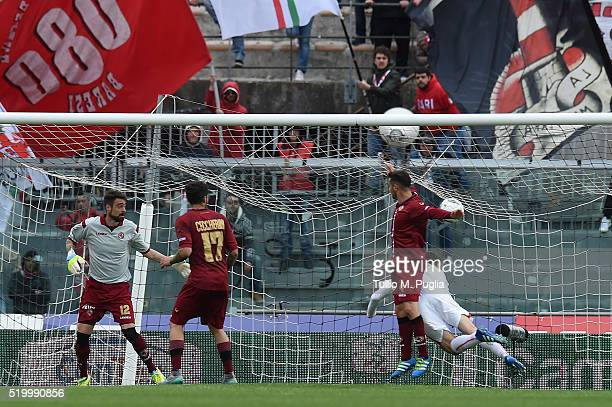 Andrea Lazzari of Bari scores his team's second goal during the Serie B match between AS Livorno and FC Bari at Stadio Armando Picchi on April 9 2016...