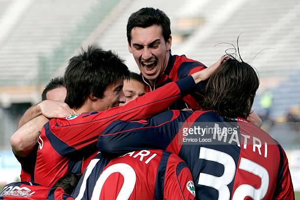 Andrea Lazzari of Cagliari celebrates a goal during the Serie A match between Cagliari Calcio and Parma FC at Stadio Sant'Elia on February 21, 2010...