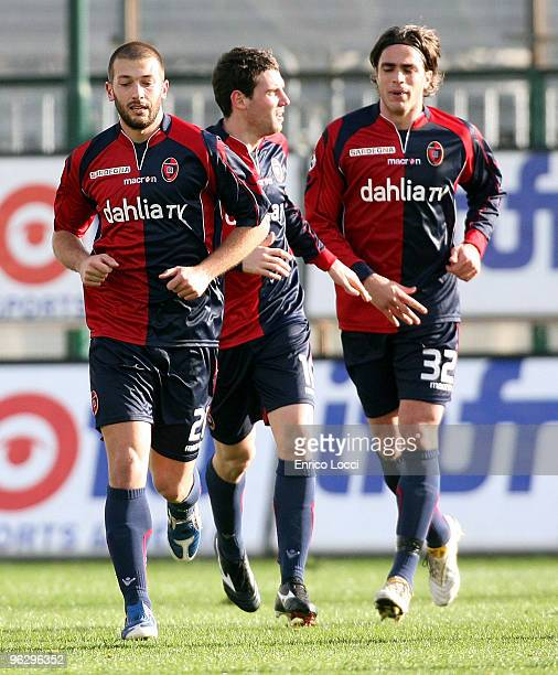 Andrea Lazzari Of Cagliari celebrates the goal during the Serie A match between Cagliari and Fiorentina at Stadio Sant'Elia on January 31, 2010 in...