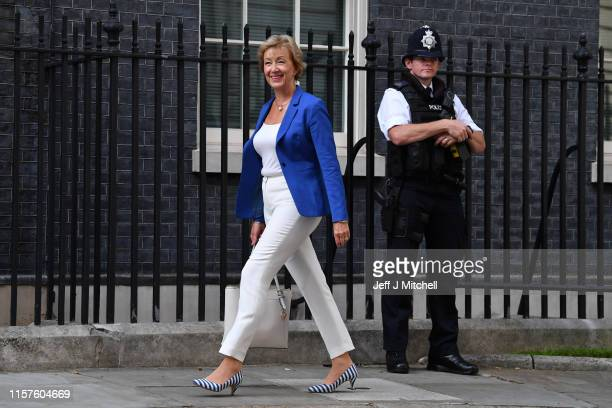 Andrea Leadsom arrives at Number 10 Downing Street on July 24 2019 in London England Boris Johnson took the office of Prime Minister of the United...