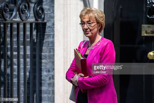 Andrea Leadsom Leader of the House of Commons departs after attending a weekly meeting of cabinet ministers at number 10 Downing Street on May 21...