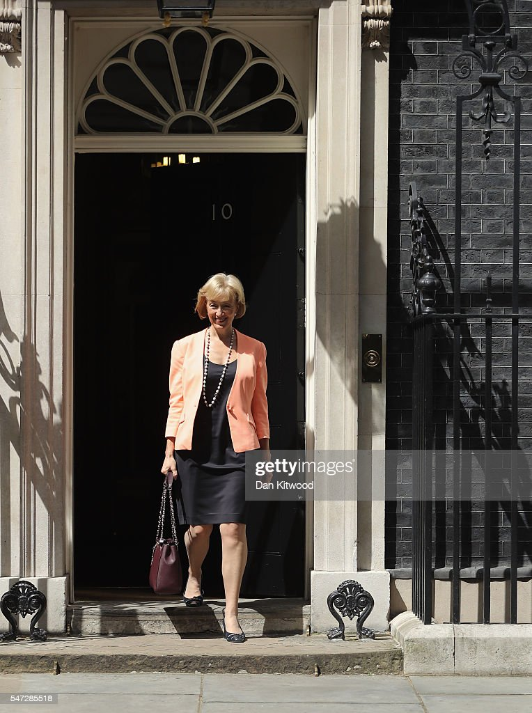 Andrea Leadsom leaves 10 Downing Street where she was appointed as Environment Secretary, as Prime Minister Theresa May continues to appoint her cabinet on July 14, 2016 in London, England. The UK's New Prime Minister began appointing the key Ministerial positions in her cabinet shortly after taking up residence at Number 10 Downing Street.