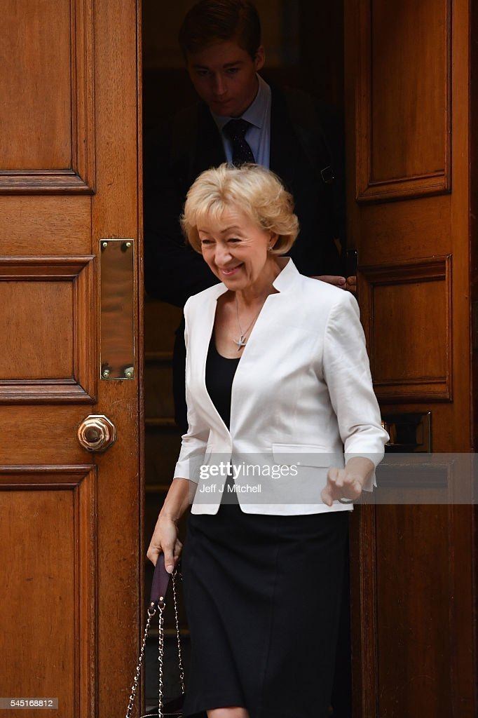 Conservative Leadership Hopeful Andrea Leadsom MP Heads To Parliament