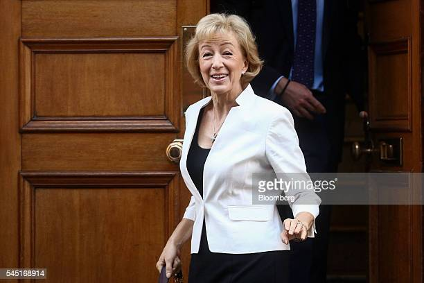 Andrea Leadsom UK energy minister leaves her home in London UK on Wednesday July 6 2016 UK Home Secretary Theresa May took a clear lead followed by...