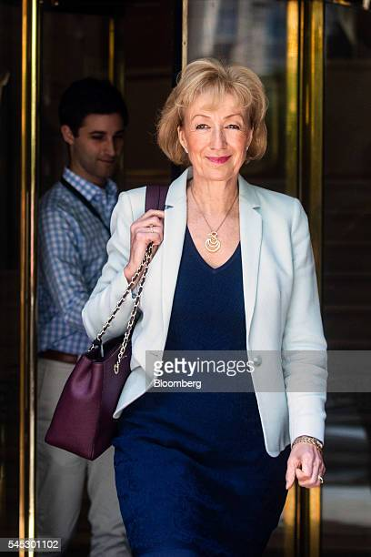 Andrea Leadsom UK energy minister leaves Millbank Studios in London UK on Thursday July 7 2016 The race to be Britain's next prime minister will...