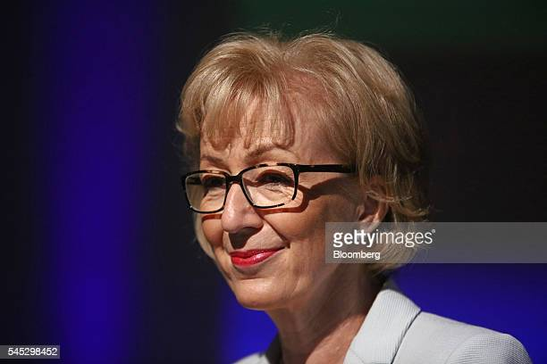 Andrea Leadsom UK energy minister pauses as she delivers a speech on the postBrexit economy in London UK on Thursday July 7 2016 The race to be...