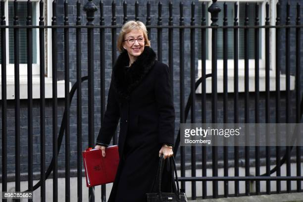 Andrea Leadsom UK leader of the House of Commons arrives for a cabinet meeting at number 10 Downing Street in London UK on Tuesday Dec 19 2017...